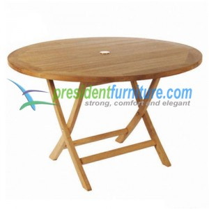 Teak outdoor round folding table 120