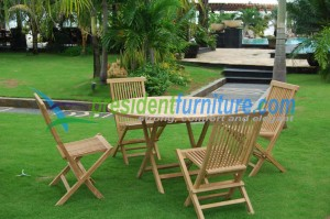 Teak garden furniture set folding chair with round table 120cm