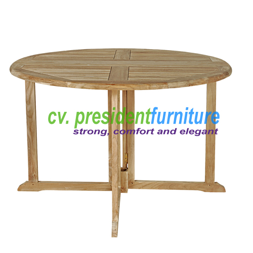 Teak Butterfly Round Table 120(3,5 Cm Top Thickness)