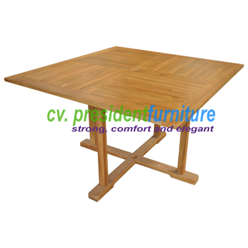 Teak Fixed Base Rect Table 120 x 120