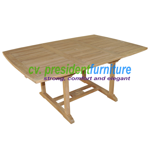 Teak Recta EXT Table 180-240x120 (Small Slats)
