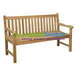 Teak Sraight Back Bench 120