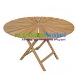 Teak Sun Round Folding Table 120