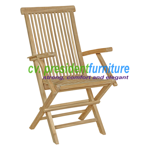 Teak Folding Arm Chair Hight