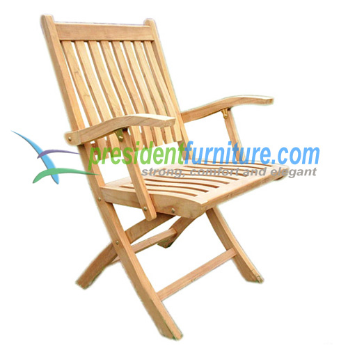 Teak New York Folding Arm Chair