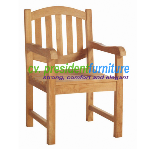 Teak Oval Back Arm Chair