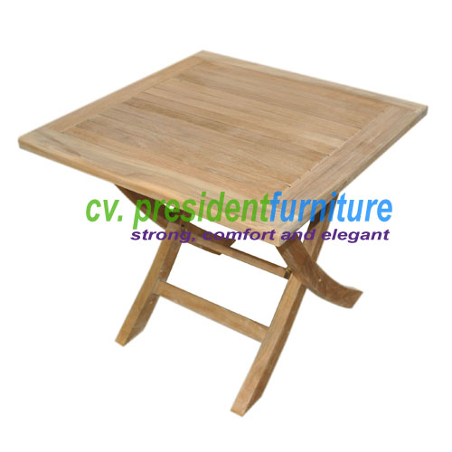 teak Mini Square Fold Table 50x50X45