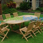 teak garden furniture Folding Chair Set 4