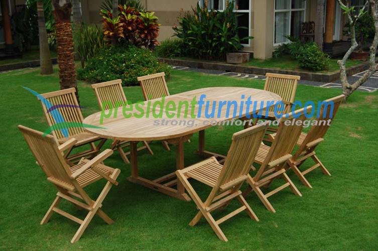 teak garden furniture Folding Chair Set 4