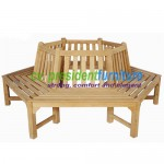 teak garden furniture Octogonal Tree Bench 220