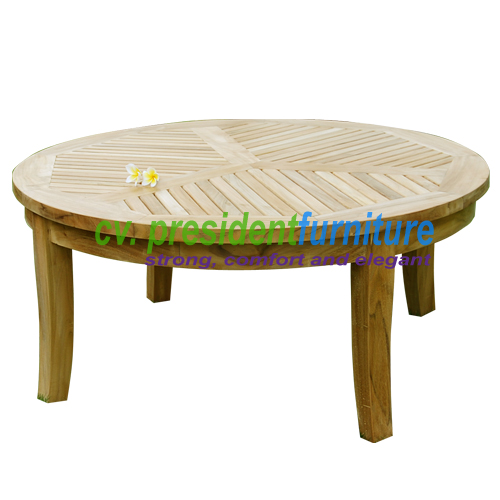 Low Round Teak Coffee Table: By President Furniture
