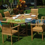 teak garden furniture Scroll Back Stacking Set
