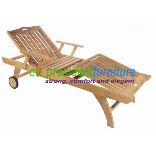 teak garden furniture Straight Lounger