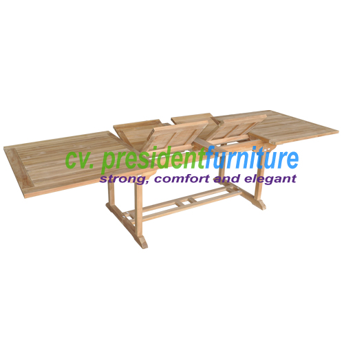 teak garden furniture Rect. Double EXT Table 200-300X100