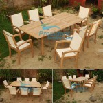 Teak Batyline President Stacking With Extending Table