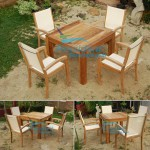 Teak Batyline Chair with Square Table