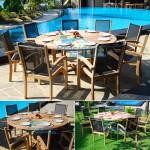 Teak Batyline Stacking Black with Round Table