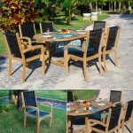 Teak Batyline Stacking Chair with Extending Table