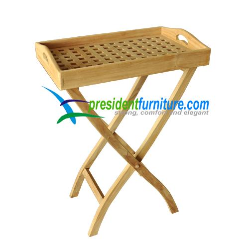teak garden furniture Tray With Folding Leg