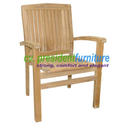 teak garden furniture Audia Arm Stacking Chair