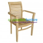 teak garden furniture Scroll Back Stacking Chair