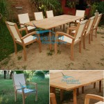 teak garden furniture Bahama Extending Table President Batyline Stacking Chair