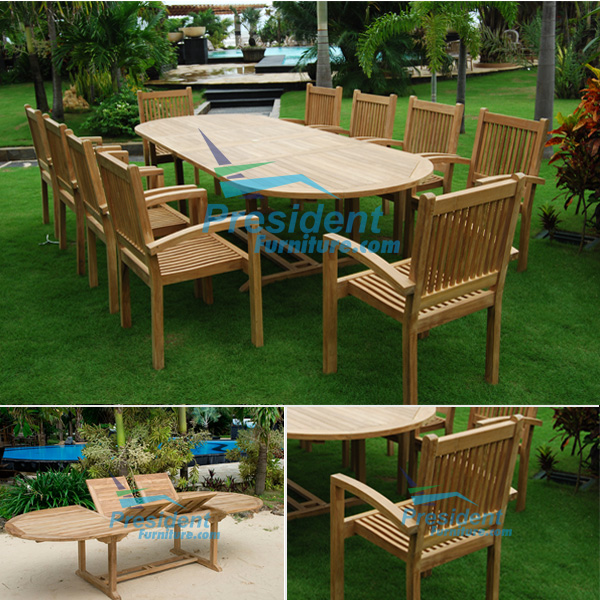 teak garden furniture Oval D ExtTable 200-300x110 Flat Stacking Chair