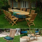 teak garden furniture Oval D Ext Table 200-300x110 Folding Chair