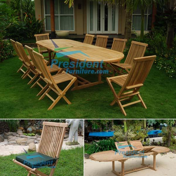 teak garden furniture Oval D Ext Table 200-300x110 Folding Chair
