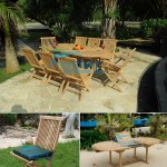 teak garden furniture Oval EXT Table 180x240 x110 Folding Chair