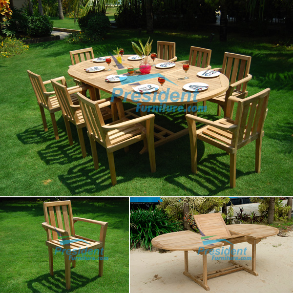 Oval Ext Table And Stacking Chair By President Furniture