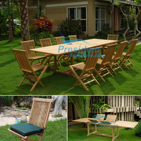 teak garden furniture Rect D Ext Table 200-300x110 Folding Chair