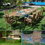 teak garden furniture Rect D Ext Table 200-300x110 Tecko 1 Stacking Chair