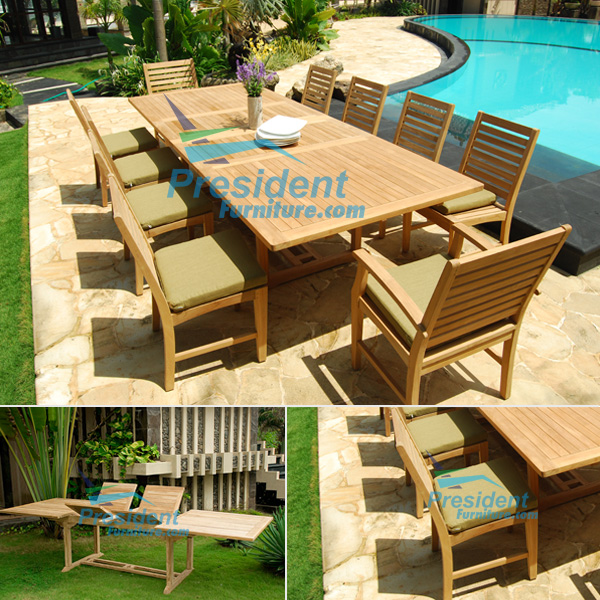 teak garden furniture Rect Double EXT 200-300x110cm Eagle Side Chair