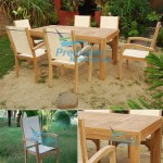 teak garden furniture Rectangular Modern Table President Batyline Stacking Chair