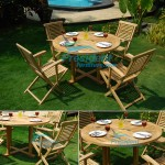 teak garden furniture Round Cross Leg Table 100cm Garuda Arm Chair
