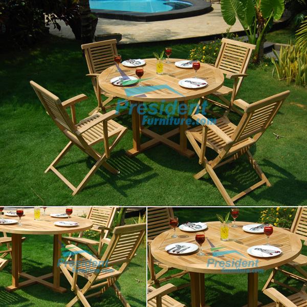 teak garden furniture Round Cross Leg Table 100cm Garuda Arm Chair