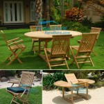 teak garden furniture Round EXT Table (120-120cm)x170 Folding Arm Chair