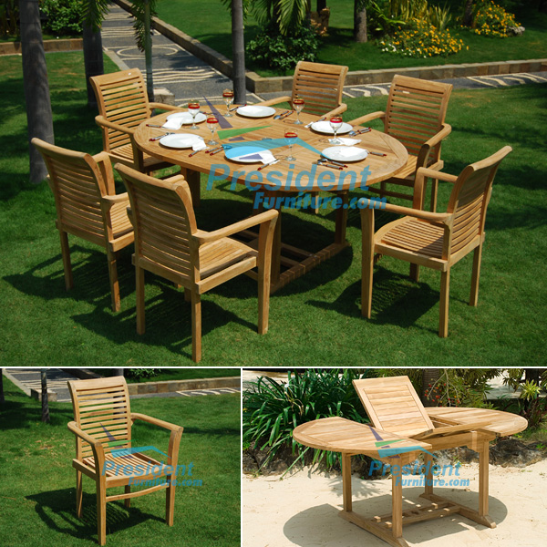 teak garden furniture Round Ext 120x120-170cm Table Scrol Back Stacking Chair