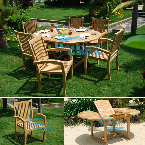 teak garden furniture Round Ext Table Stacking President