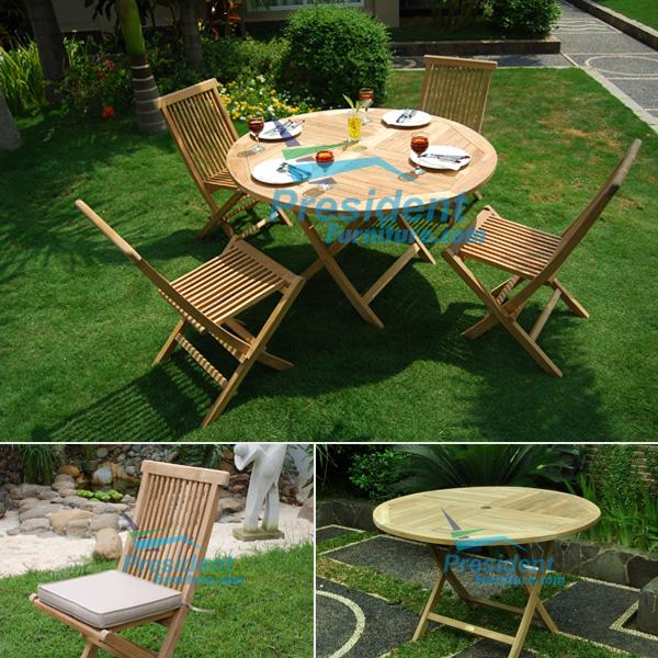 teak garden furniture Round Folding Table 110cm Folding Chair