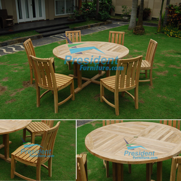 teak garden furniture Round Table Cross Leg 150cm Heer Chair