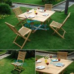 teak garden furniture Square Cross Legs Table 120cm Garuda Folding Chair