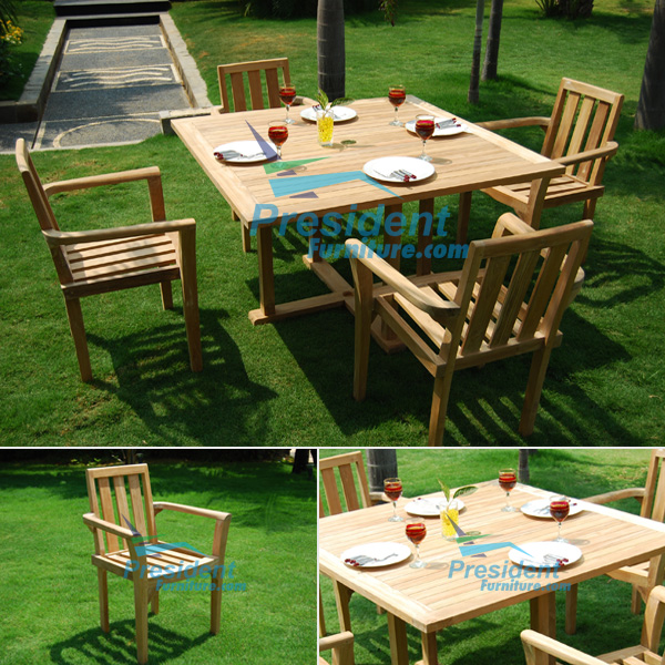 teak garden furniture Square Cross Legs Table 120cm Stacking Chair