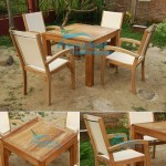 teak garden furniture Square Table 10cm Leg 140cm President Batyline Stacking Chair