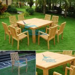 teak garden furniture Square Table 140x140cm Solid Slat 7cm Leg 10cm Tecko Stacking Chair