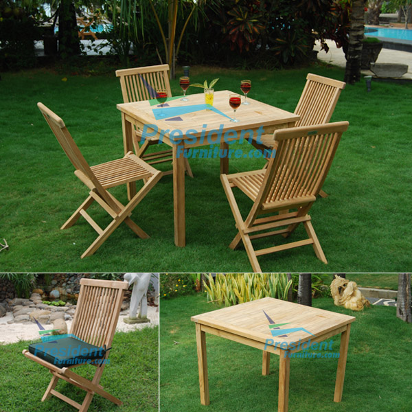 teak garden furniture Square Table Bistro 90cm Folding Chair