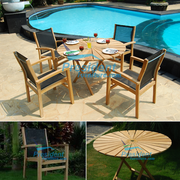 teak garden furniture Sun Table Folding Audia Batyline Stacking