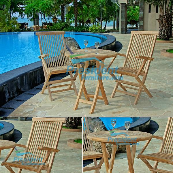 teak garden furniture Folding Arm Chair Round Folding Table 70