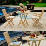 teak garden furniture Folding Arm Chair Round Folding Table 90